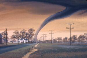 A tornado moves across a highway