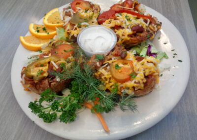 ok - New, Vegan Chili stuffed potato skins, Replaces Vegan Chili Bowl which is still available