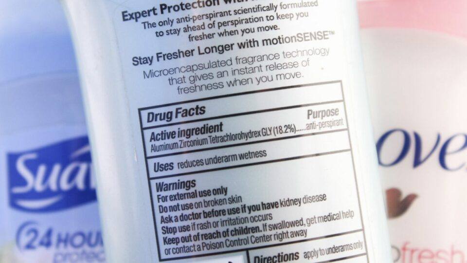 Aluminum in deodorants