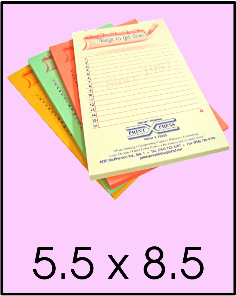 custom printed notepads 5.5 x 8.5