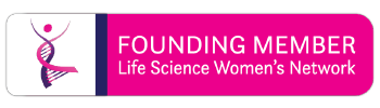 """Two of three graphics.  Reads """"FOUNDING MEMBER"""" in white text against a pink background, with """"LIFE SCIENCE WOMEN'S NETWORK"""" underneath. The graphic is shaped like a rounded, long card, with the dancing DNA Lady logo on the left."""