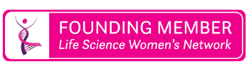 """Three of three graphics.  A rounded, rectangular signature graphic with the dancing DNA lady logo on the left against white. There is a hot pink background, bringing highlight to the white text that reads 'FOUNDING MEMBER"""" and, in italic, """"Life Science Women's Network""""."""