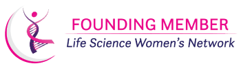 """One of three graphics. Reads """"FOUNDING MEMBER"""" in light pink text with a line divider underneath. Text, in italic and purple, reads """"Life Science Women's Network"""". To the left of both texts is the dancing DNA lady with a grey and pink half-sphere wrapping around her."""