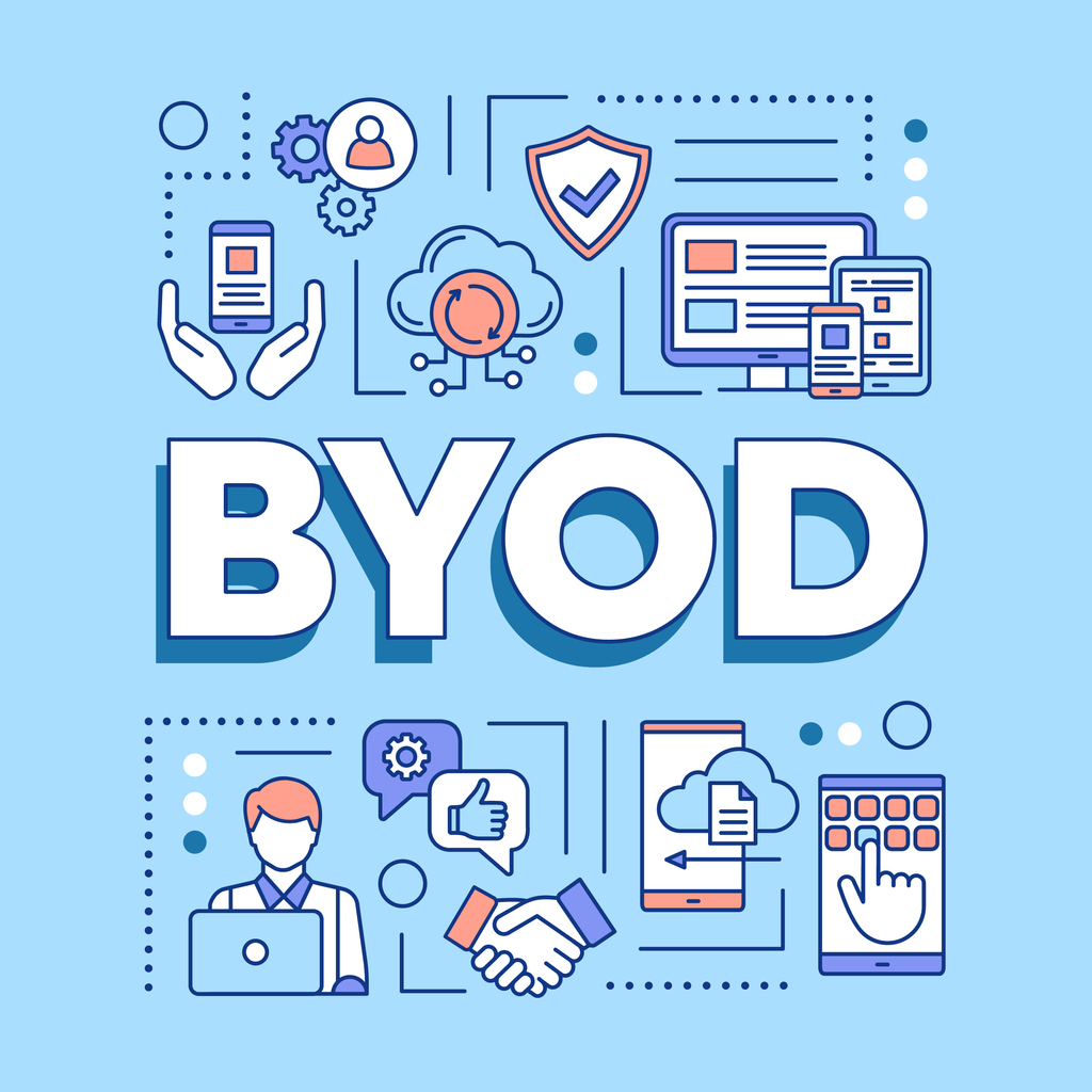 BYOD word concepts banner. Bring your own device. Using personal gadgets on workplace. Presentation, website. Isolated lettering typography idea with linear icons.