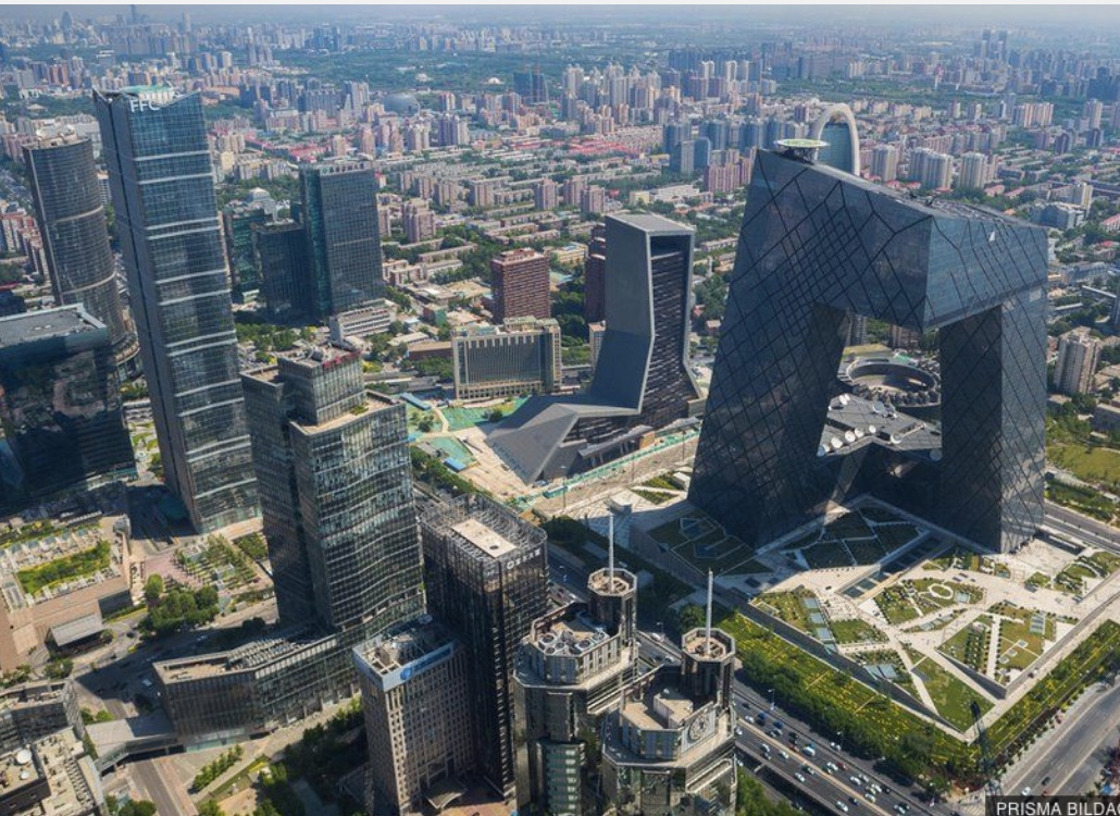 CCTV headquarters (center right), in Beijing, known as Big Pants. Or is it stomping on the people?