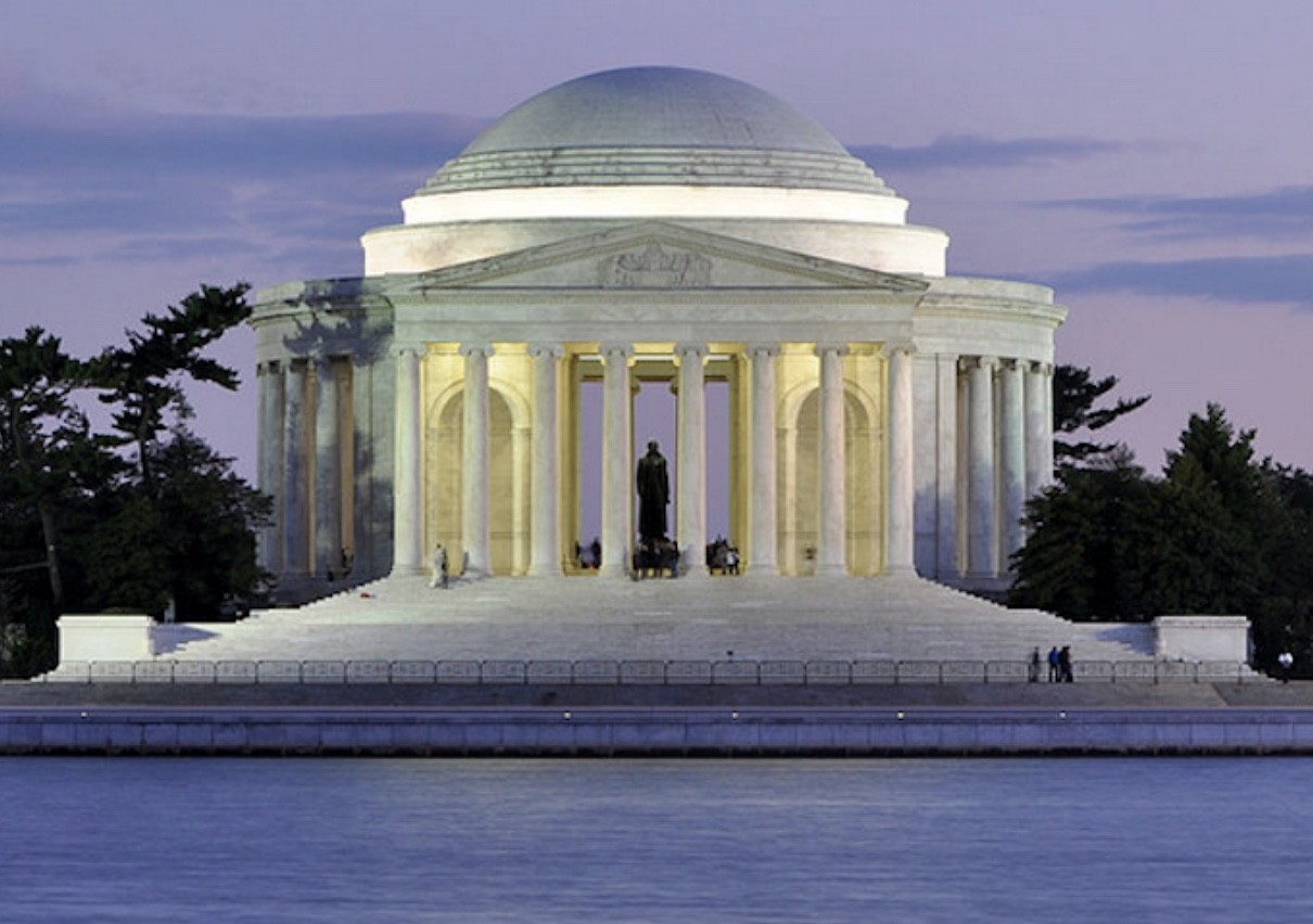 The Jefferson Memorial, by John Russell Pope, on the Tidal Basin. (Wikipedia)