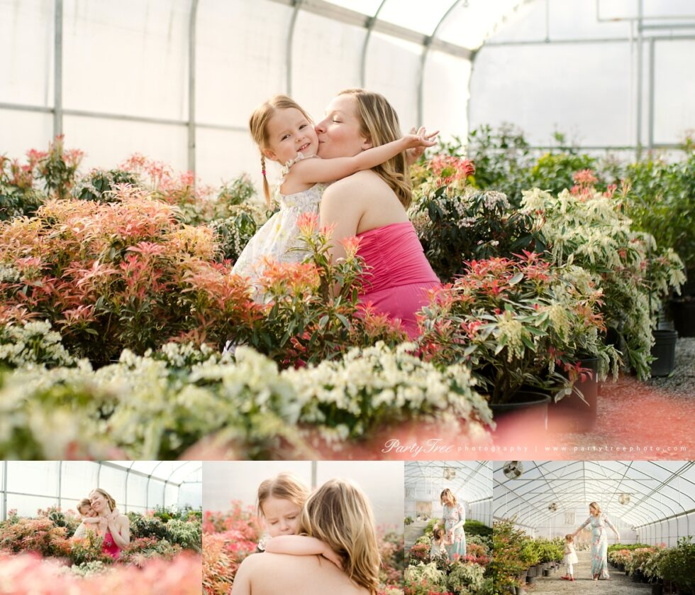 Greenhouse Photo Session Mommy Daughter Alpharetta Milton Family Photographer Scottsdale Farms Garden Center