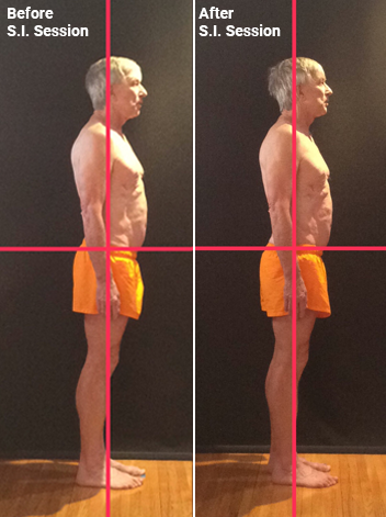 Client pelvic tilt before and after session
