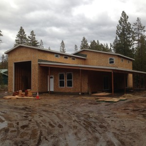 Retirement home with full size RV garage in progress