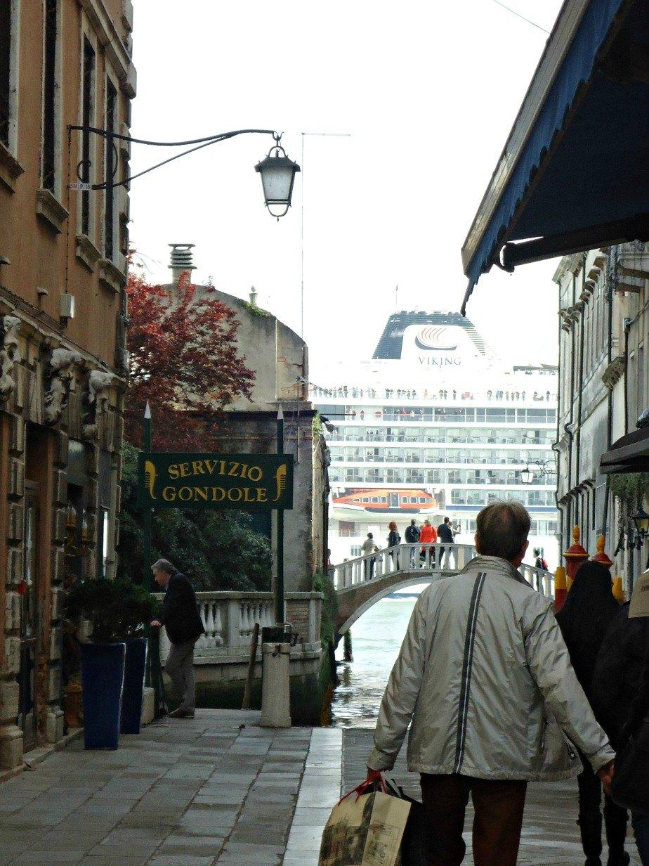 Cruise Ship on Guideca Canal in Dorsoduro Venice Italy