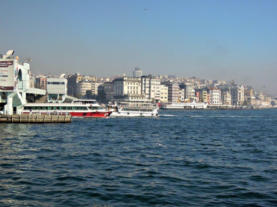 Ferries Passing Under Galata Bridge
