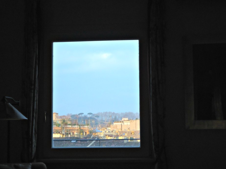 View from my bed to Janiculum Hill, Rome