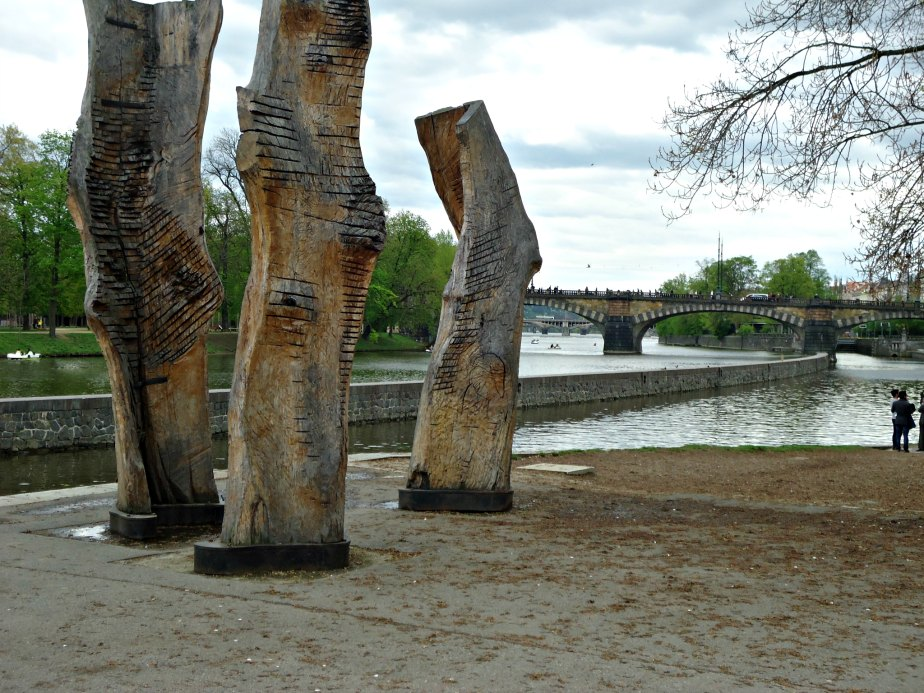 Carved Tree Trunks in Kampa Park Prague