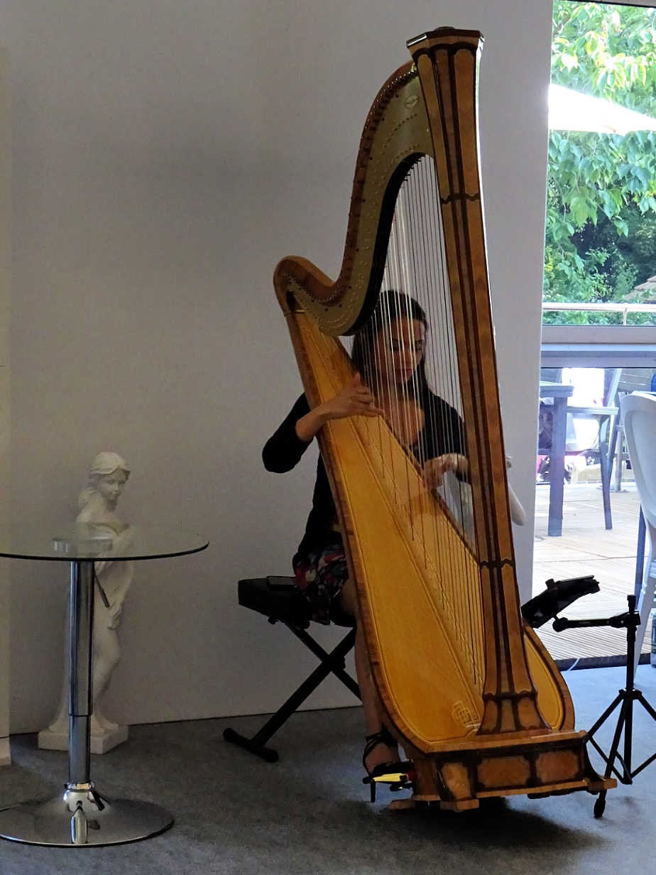Harpist at the Drawing Room, Chelsea Flower Show