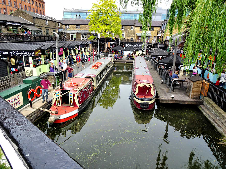 Longboats waiting to head down Regent's Canal