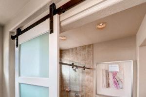 Standard Series barn door hardware - bathroom door