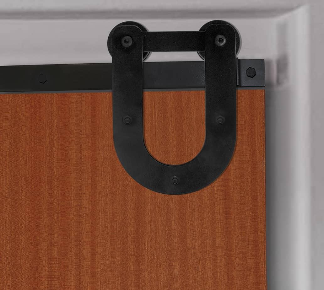 sliding door with light-duty horseshoe stye roller hanger