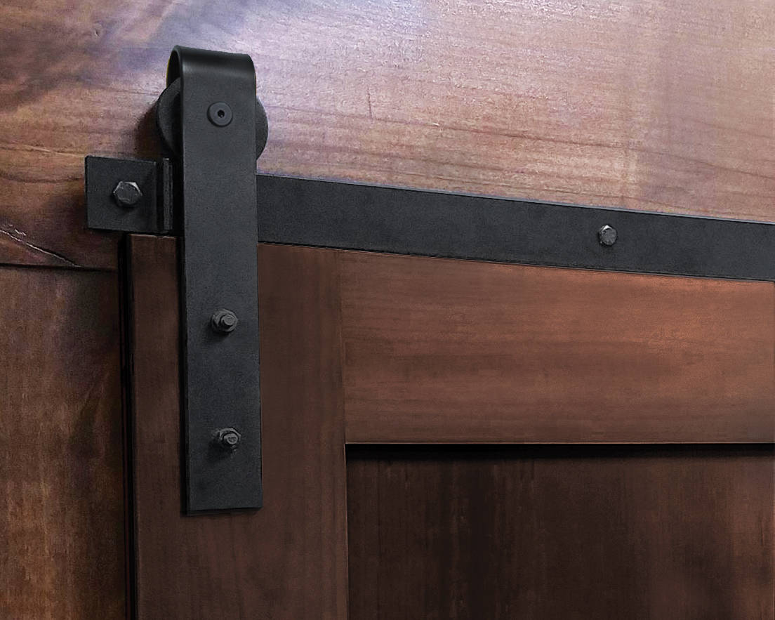 light-duty barn door hardware with J-style roller hanger