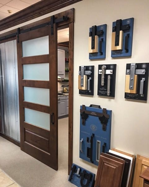 barn door hardware display units in showroom