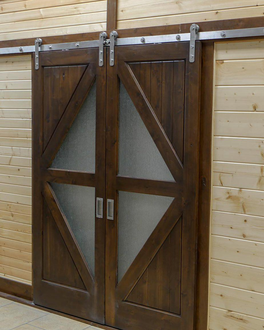 biparting doors with stainless steel barn door hardware and track