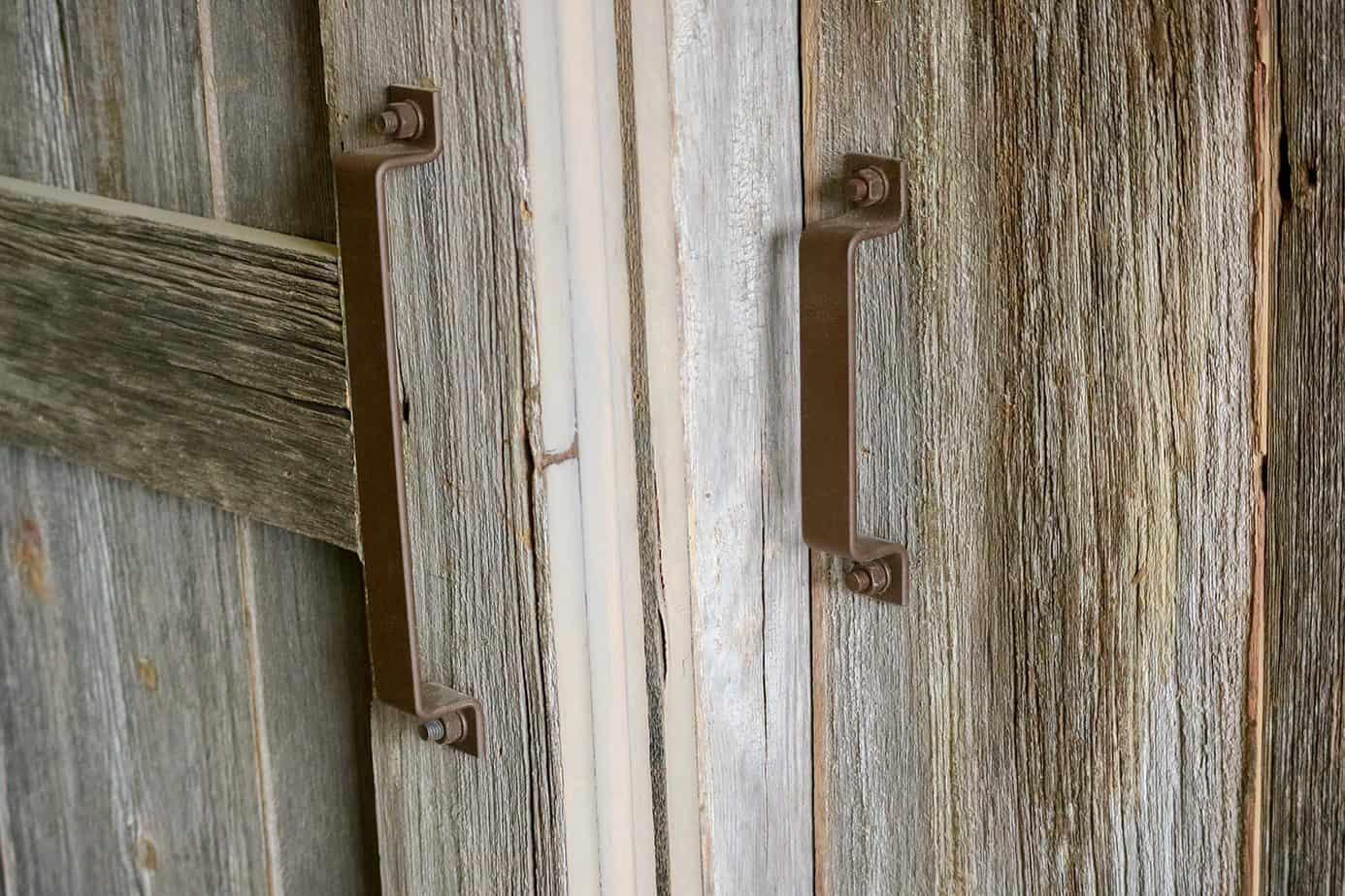 rust brown colored sliding barn door pull handles