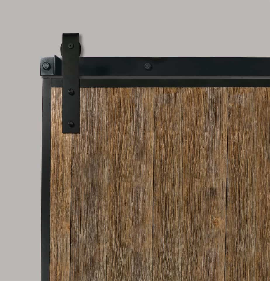 rustic wood sliding barn door with steel edge wrap channels