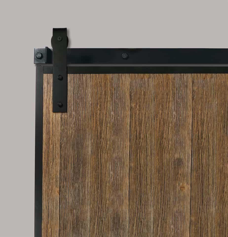 rustic wood sliding barn door with steel edge wrap channels