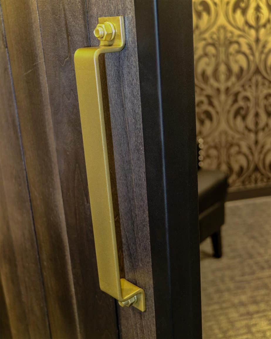 steel pull handle for sliding door with golden finish