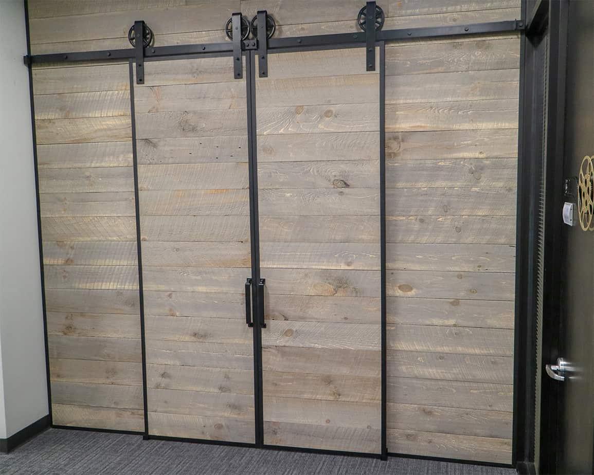rustic wood slat doors with steel edge channels