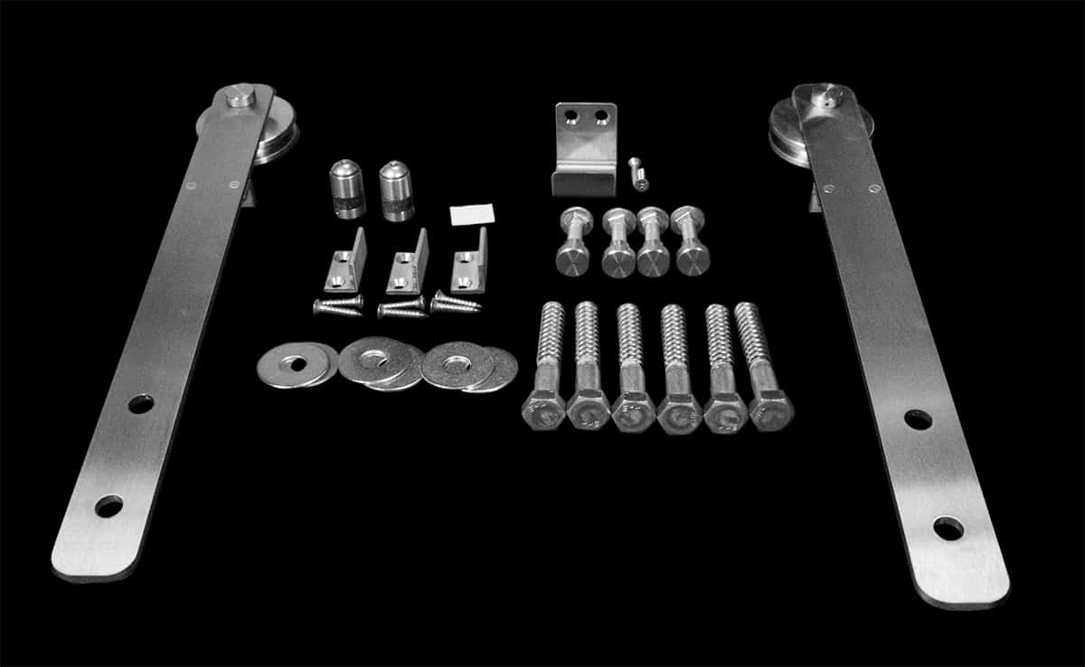 Goldberg Brothers Stainless Steel Series bypass barn door hardware components
