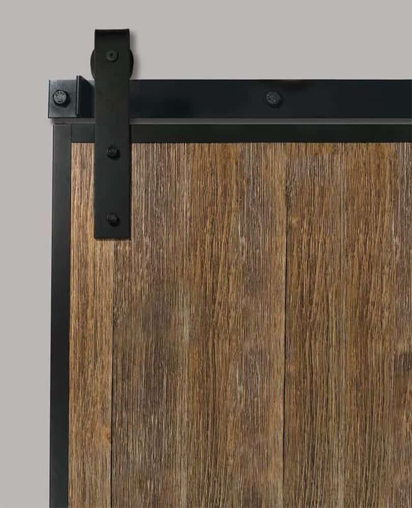 sliding door with barn door edge wrap