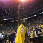A.C. Green celebrates his fourth NBA Championship