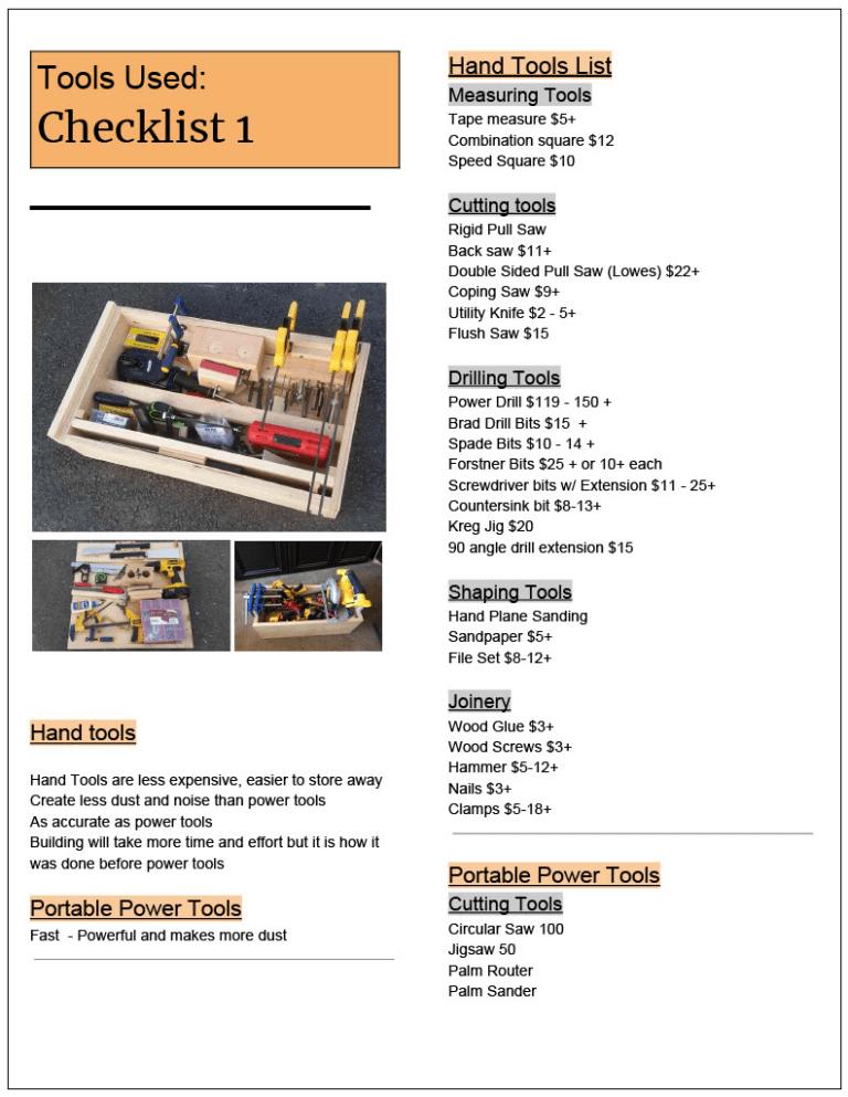 Tool Checklist
