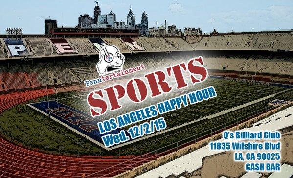 "TONIGHT (Wed, 12/2): Penntertainment LA ""Sports"" happy hour"