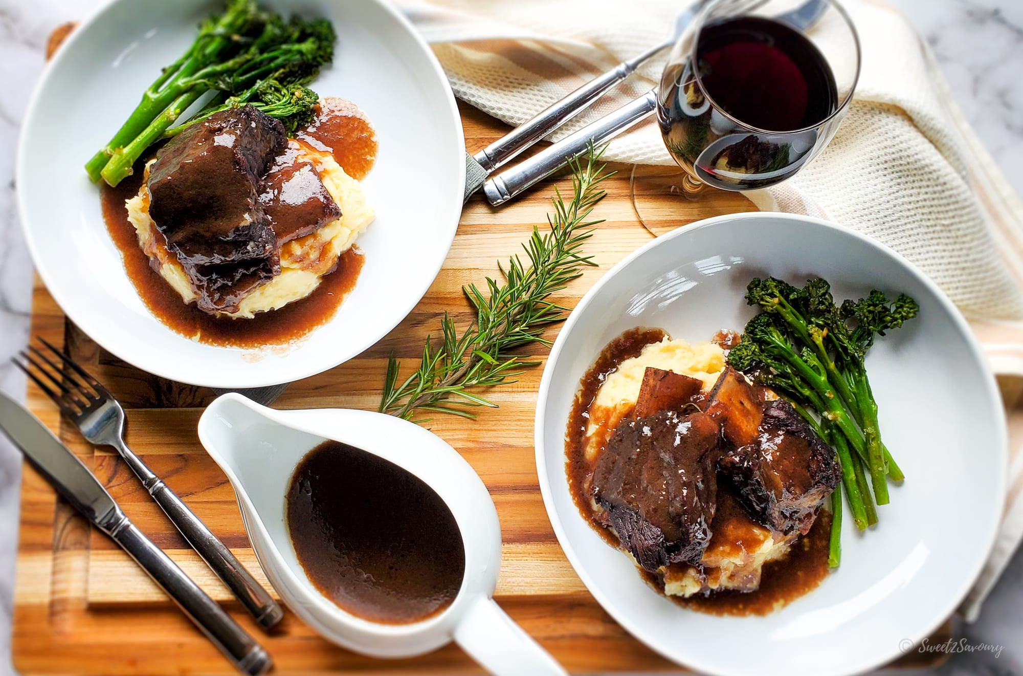 Red Wine Beef Braised Short Ribs With Rosemary