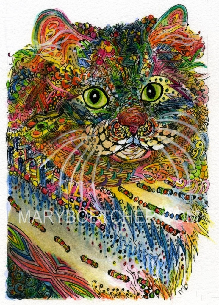 Zentangle Siberian Cat