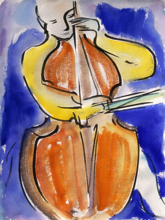 Cellist, 2002, Richard H. Fox (b.1960/American), Watercolor & Ink on Paper