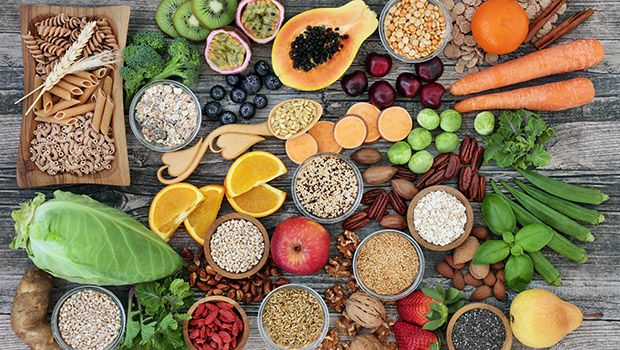 Fruits and Grains on a Table