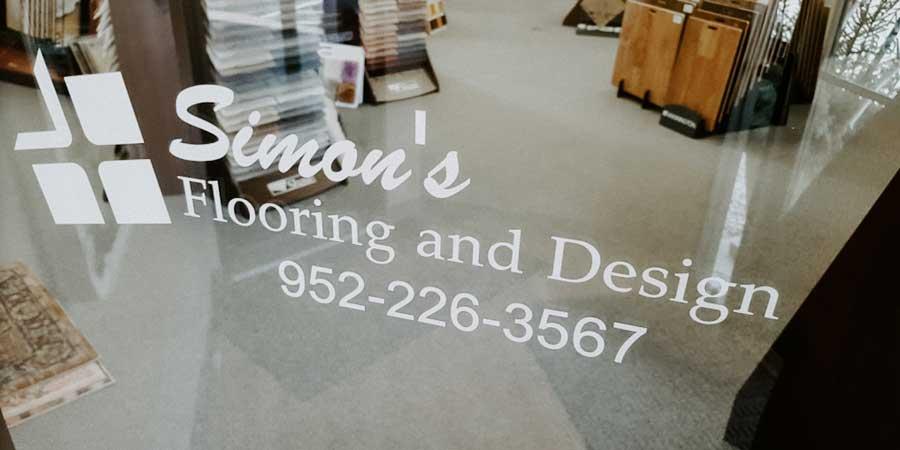 Simons Flooring and Design Logo Signage (952)-226-3547