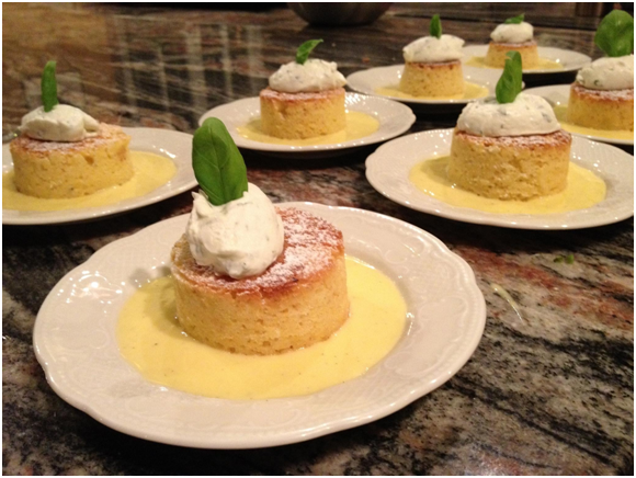 Lemon Olive Oil Polenta Cake with Basil Scented Whipped Cream