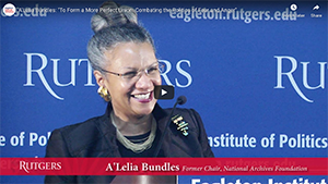 A'Lelia presents the Constitution Day keynote at Rutgers University's Eagleton Institute of Politics