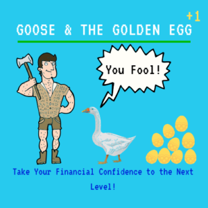 Man is going to kill his goose with the gold eggs to get all of the golden eggs at once.