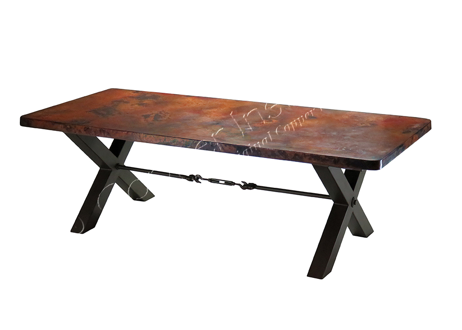 Lexington Dining Table Base with Custom Copper Top