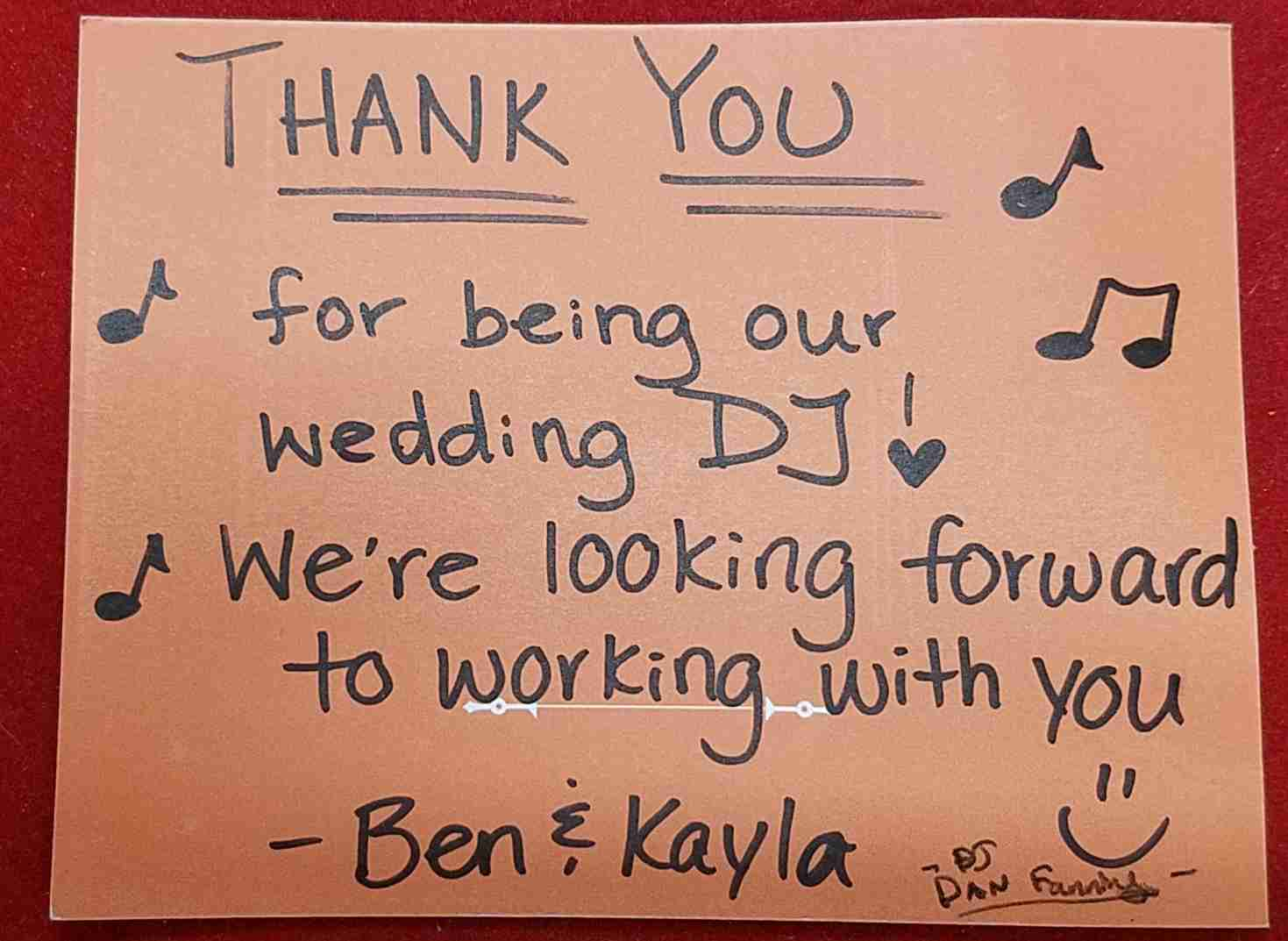 Thank You Card From Happy Wedding Couple