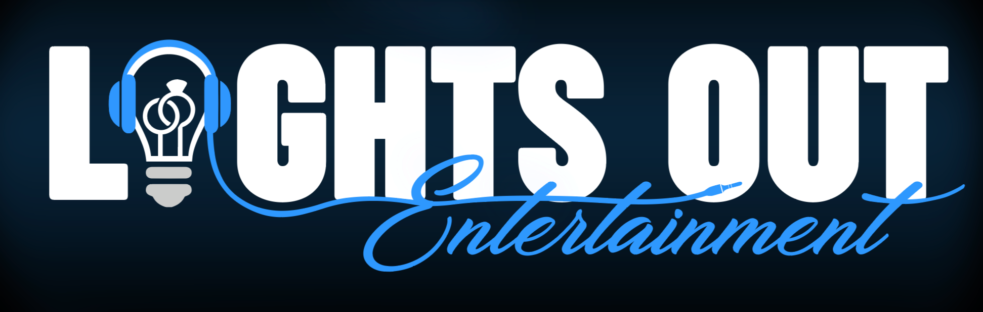 Indianapolis Wedding DJ - Lights Out Entertainment Logo for 2018 through 2020, Lights Out In bold white lettering I is replaced with a lightbulb with blue DJ headphones ontop of lightbulb inside lightbulb are two wedding rings, Entertainment is in cursive font and is blue