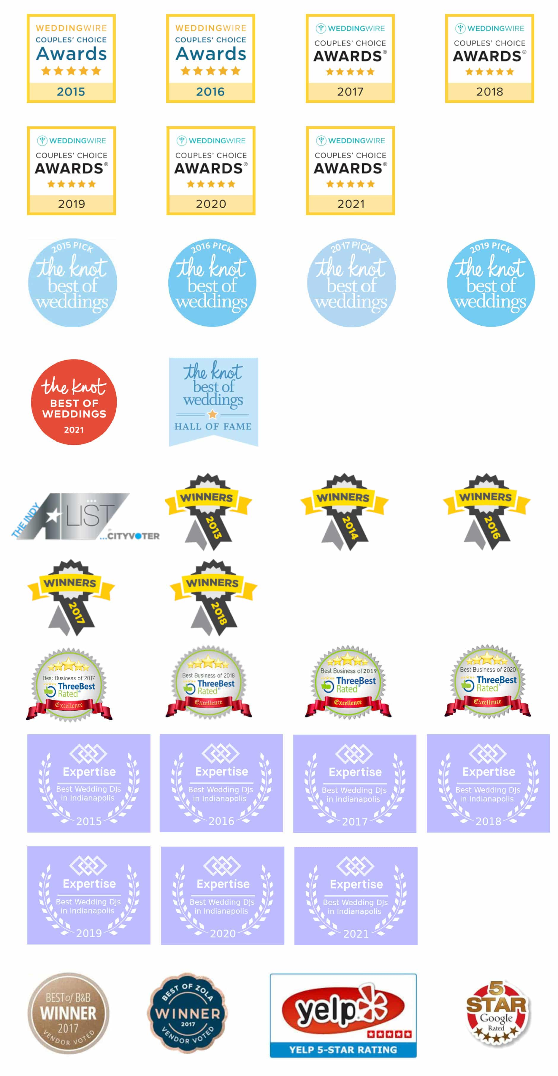 Current and past wedding excellence awards
