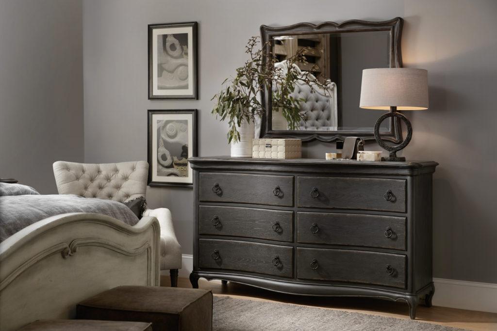 Hooker 1610-90001-GRY Six-Drawer Dresser 1610-90009-GRY Landscape Mirror