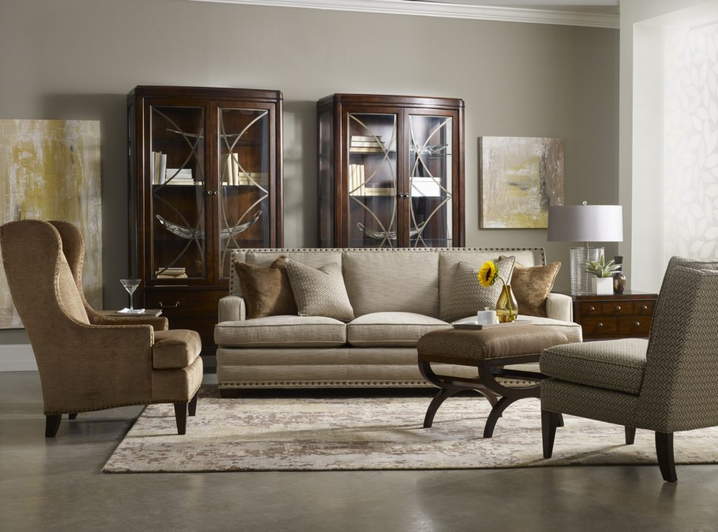 Sam Moore Ziggy 3 over 3 Sofa #7051-002, Tobias Wing Chair #2958, Esteban Ottoman #6684, Lyric Accent Chair #1922
