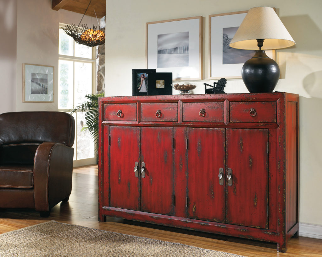 Hooker  500-50-711 58in. Red Asian Cabinet