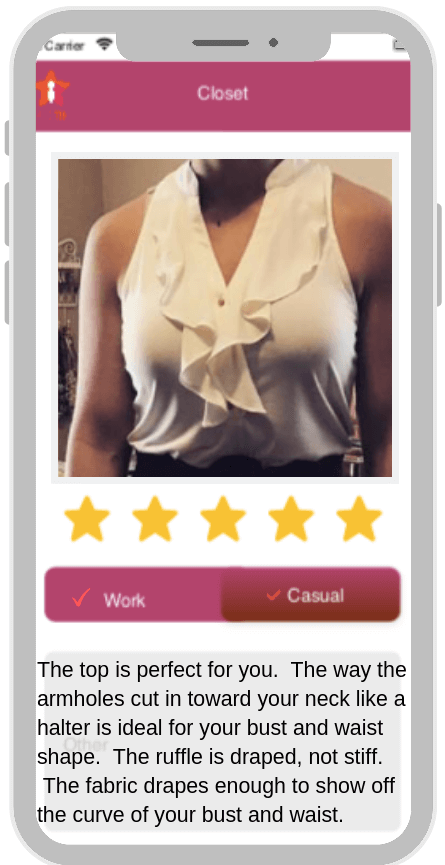image of smart phone app showing well put together dressed woman in cream colored top with ruffles